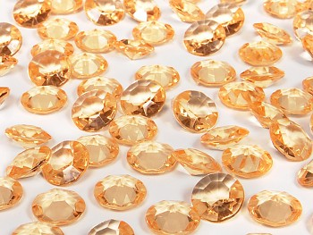 Dekorační mini diamanty světle oranžové-bal.100ks