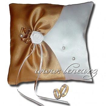 Svatební polštářek na prstýnky-Gold 1