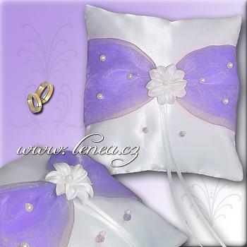 Svatební polštářek na prstýnky-Lila 4