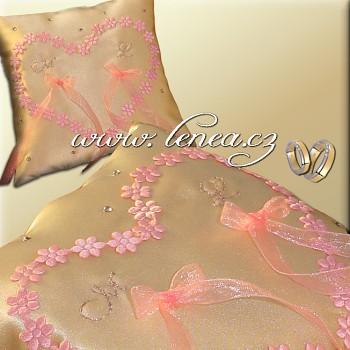 Svatební polštářek na prstýnky-Pink 4