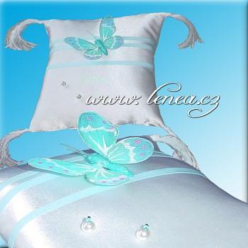 Svatební polštářek na prstýnky-Blue 1
