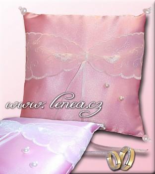 Svatební polštářek na prstýnky-Pink 2