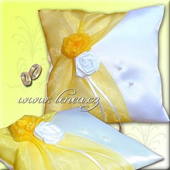 Svatební polštářek na prstýnky-Yellow 1