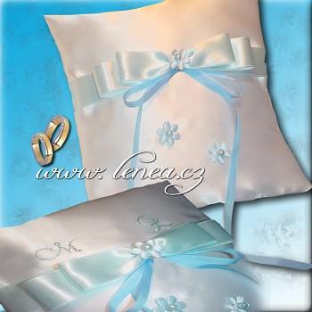 Svatební polštářek na prstýnky-Blue 3