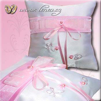 Svatební polštářek na prstýnky-Pink  3