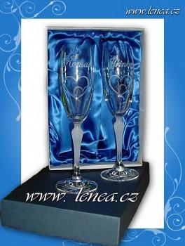 Svatební sklenice na sekt- flétna Lucie-volba obrázku+datum