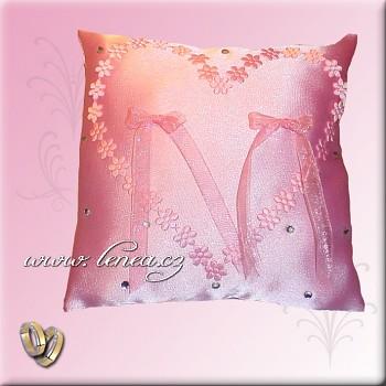 Svatební polštářek na prstýnky-Pink 5