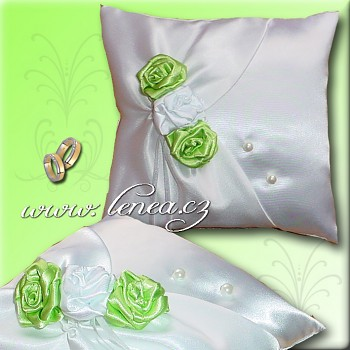 Svatební polštářek na prstýnky-Green 4