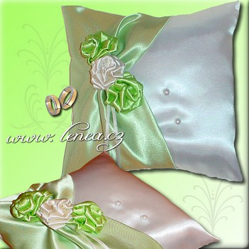 Svatební polštářek na prstýnky-Green 5