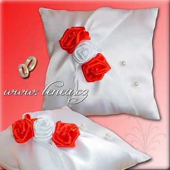 Svatební polštářek na prstýnky-Red 3