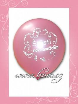 Balónek nafukovací-svatební motiv-růžový