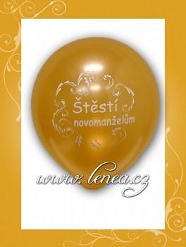 Balónek nafukovací-svatební motiv-zlatý