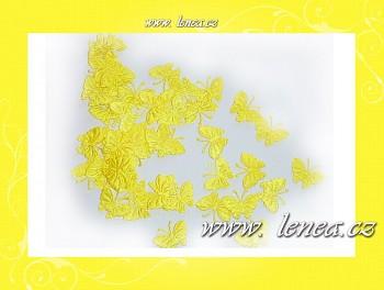 Motýlek látkový -žlutý