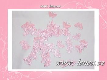 Motýlek látkový- růžový