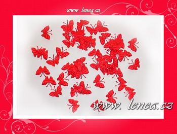 Motýlek látkový-červený