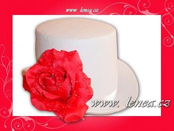 Cylindr bílý s červenou růží