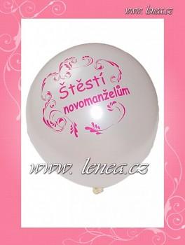Balónek nafukovací-svatební motiv-bílý