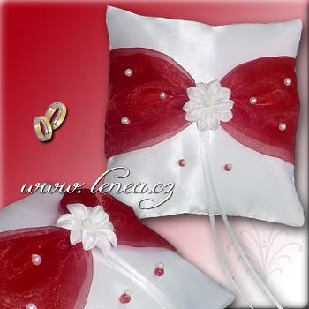 Svatební polštářek na prstýnky-Bordó 4