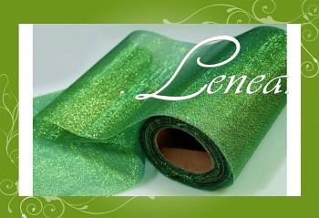 Organzová stuha s lurexem-zelená travní