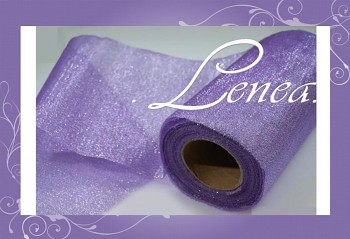 Organzová stuha s lurexem-fialová
