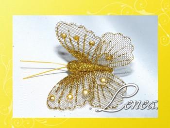 Motýl s kamínky-žlutý