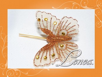 Motýl s kamínky-oranžový