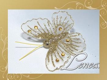 Motýl s kamínky-zlatý