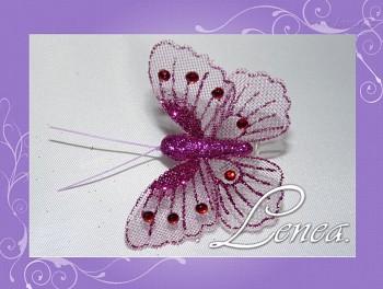 Motýl s kamínky-fialový