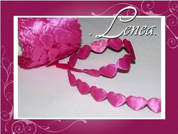 Saténová srdíčka tmavě růžová-fuchsie