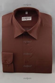 Pánská košile klasik dl.r.- hnědá