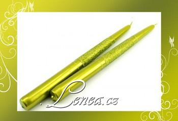 Kónická svíčka s glitry- zelená-olivová