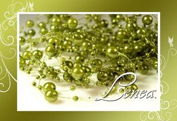 Perličky na silonu-zelené OLIVOVÉ 10ks