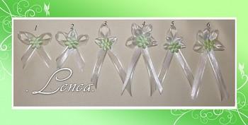 Vývazek šifón-zelený květ plný -tvar 1