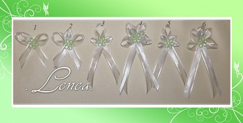 Vývazek šifón-zelený květ dutý -tvar 1