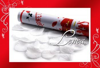 Konfety vystřelovací-plátky růží bílé