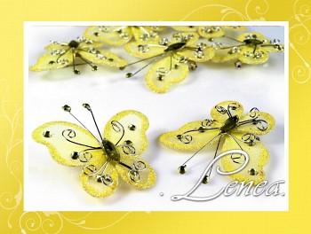 Motýl se zavíracím špendlíkem-žlutý
