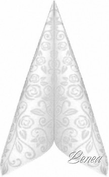Ubrousky PREMIUM s dekorem růže 40x40 cm bílé /bal.50 ks