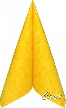 Ubrousky PREMIUM s dekorem růže 40x40 cm žluté/bal.50 ks