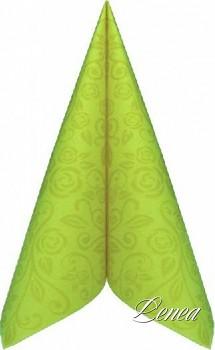 Ubrousky PREMIUM s dekorem růže 40x40 cm světle zelené/bal.50 ks