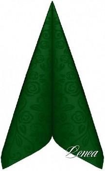 Ubrousky PREMIUM s dekorem růže 40x40 cm tmavě zelené/bal.50 ks