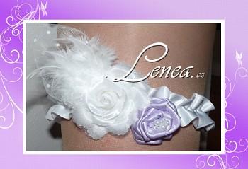 Podvazek Elegant-bílý a lila květ 4