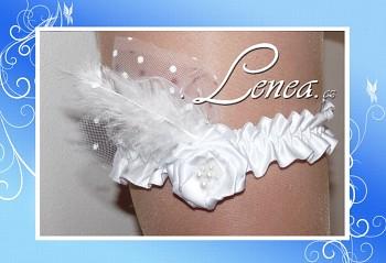 Podvazek Elegant bílý květ s peříčkem 1