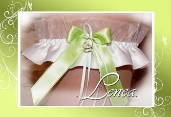 Svatební podvazek SRDCE-zelená mašlička
