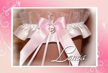 Svatební podvazek SRDCE-růžová mašlička