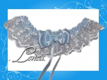 Kolekce 2010-sv. modrý podvazek-bílá krajka - vel. s,m,l