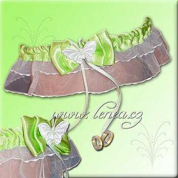 Svatební podvazek-Green 4 - vel. s,m,l