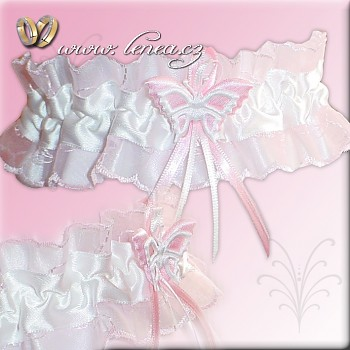 Svatební podvazek-Pink 5 - vel. s,m,l