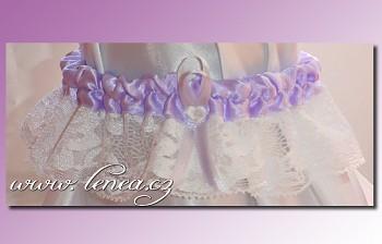 Svatební podvazek-Lila 1 - vel. s,m,l
