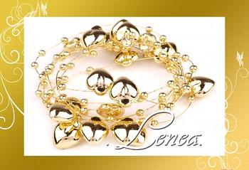 Srdíčka s perličkami na silonu- zlatá