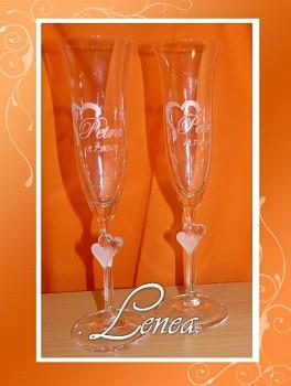 Svatební skleničky Amorek -sada pískovaná